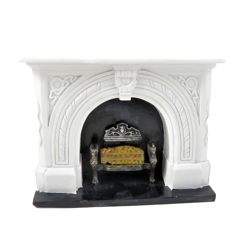 Dolls House White Fireplace with Black Hearth & Coal Fire 1:12 Resin Furniture