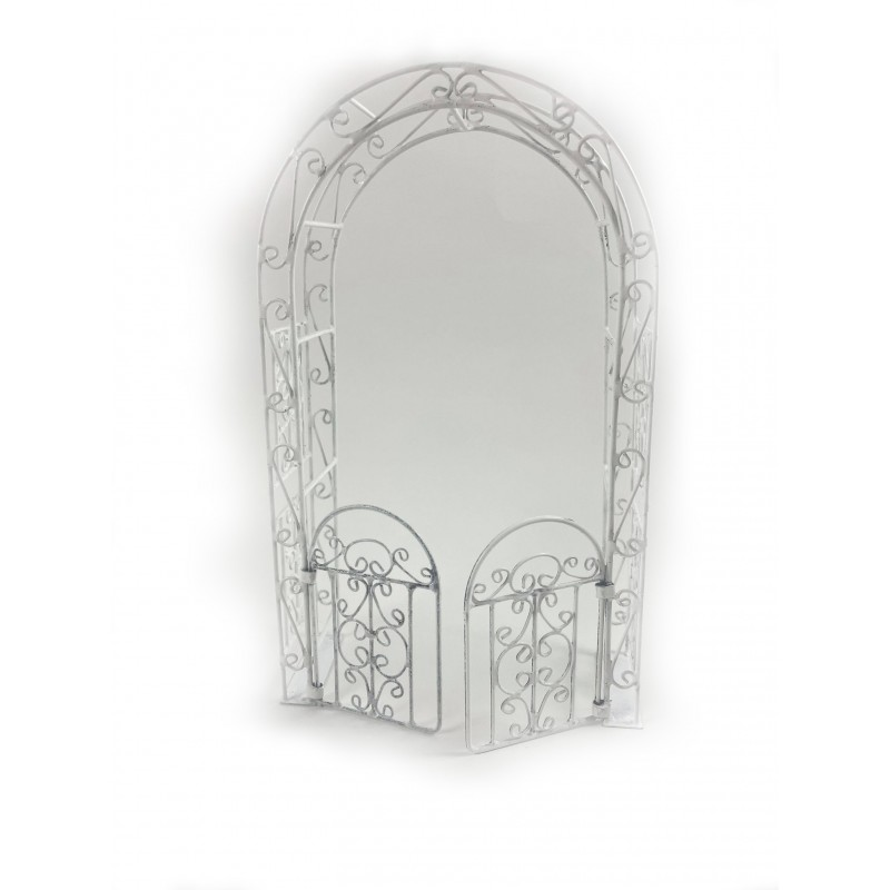 Dolls House White Wire Wrought Iron Arbour Arch with Gates 1:12 Garden Furniture