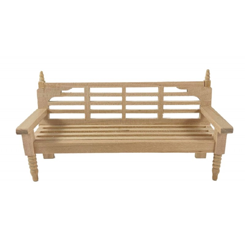 Dolls House Bare Wood Garden Bench Unfinished Miniature Outdoor Park Furniture