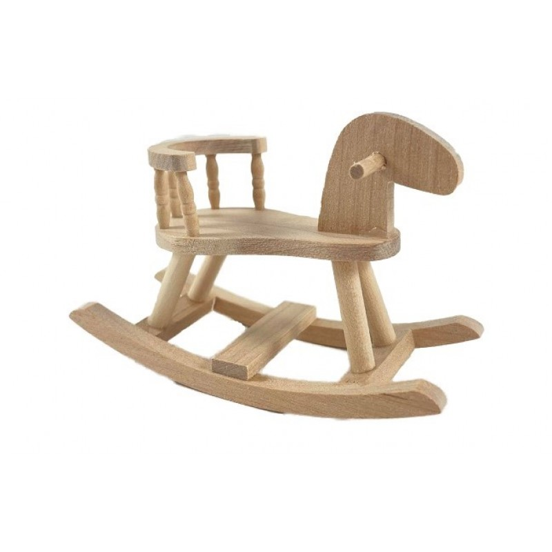 Dolls House Bare Wood Sit On Wooden Rocking Horse Toy Nursery Accessory 1:12