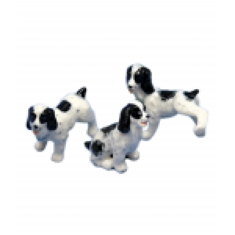 Dolls House 3 Spaniels Sitting Standing Leg Up Pet Dogs Miniature Accessory 1:12