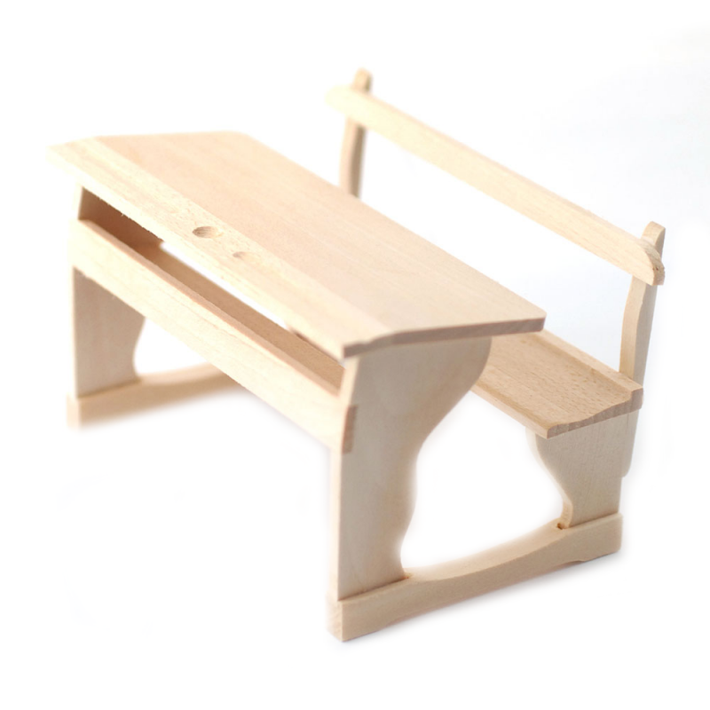 Dolls House Bare Wood Twin Double School Desk & Bench Old Fashioned Furniture