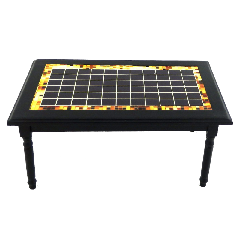 Dolls House Black Inlay Design Table Miniature Kitchen Dining Room Furniture
