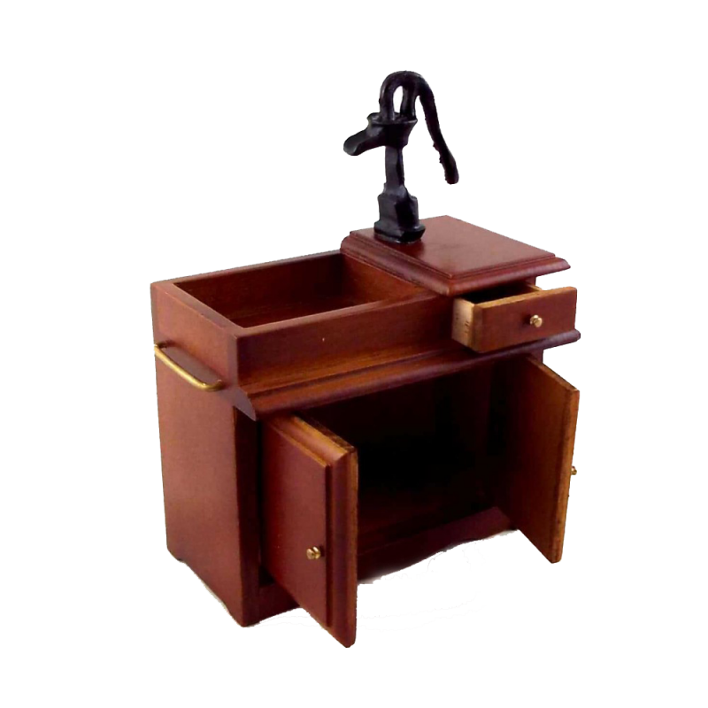 Dolls House Walnut Victorian Wet Sink Unit with  Hand Pump Kitchen Furniture