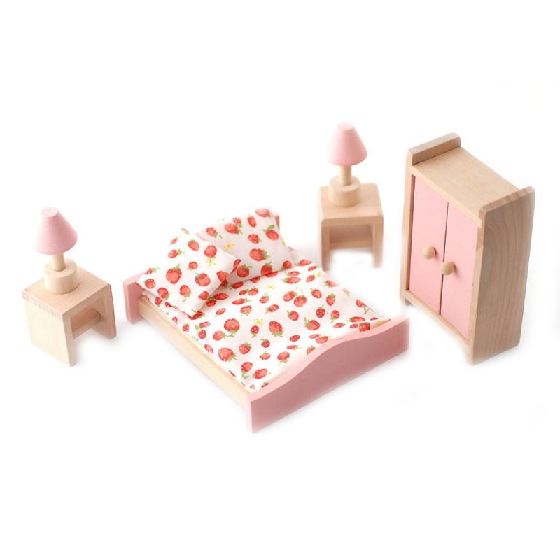 Dolls House Pink Wooden Double Bedroom Set Miniature 3 Years Plus Furniture