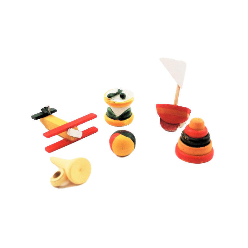Dolls House Set of 6 Wooden Toys Shop Nursery Accessory 1:12 Scale