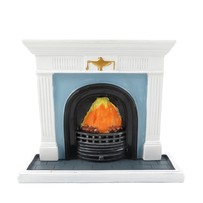 Dolls House White Georgian Fireplace with Flaming Fire 1:12 Resin Furniture