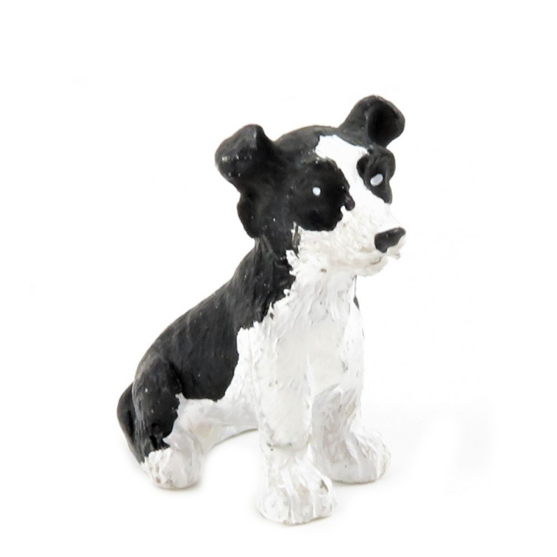 Dolls House Young Border Collie Sitting Pet Sheep Dog Miniature 1:12 Accessory