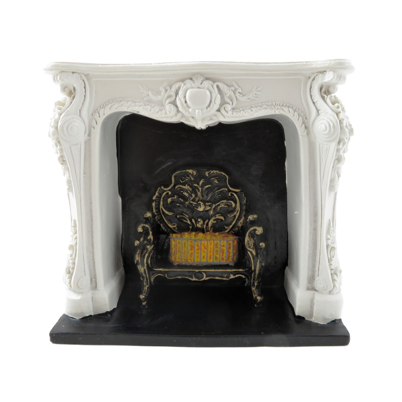 Dolls House Rococo White Fireplace with Black & Gold Grate Resin 1:12 Furniture