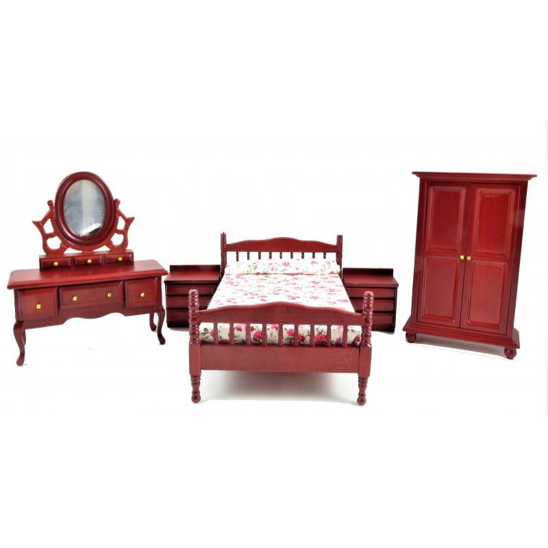 Dolls House Mahogany Double Bedroom Furniture Set with Spindle Bed Frame