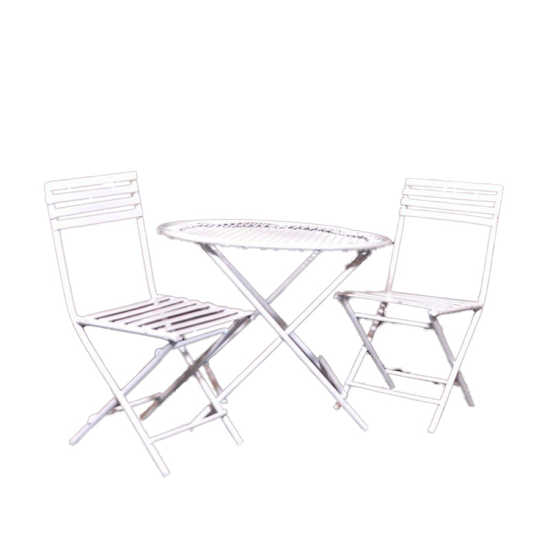 Dolls House White Wire Patio Set Table 2 Chairs Miniature Garden Furniture 1:12