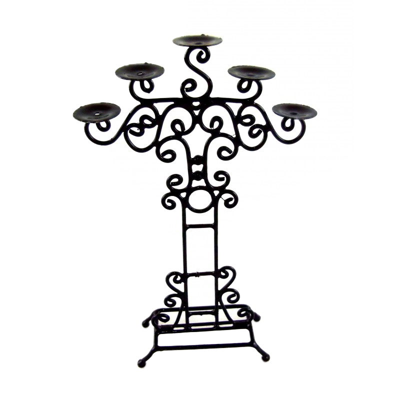 Dolls House Floor Standing Wrought Iron Candle Holder Stand Miniature Accessory