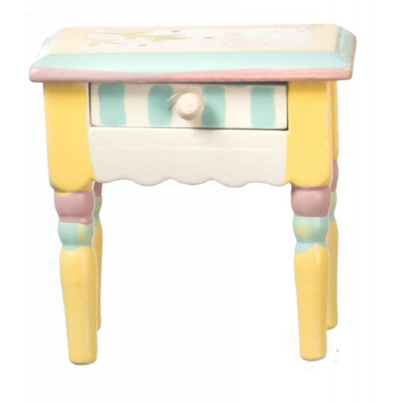 Dolls House Pastel Shabby Chic Bedside Cabinet Miniature Bedroom Furniture