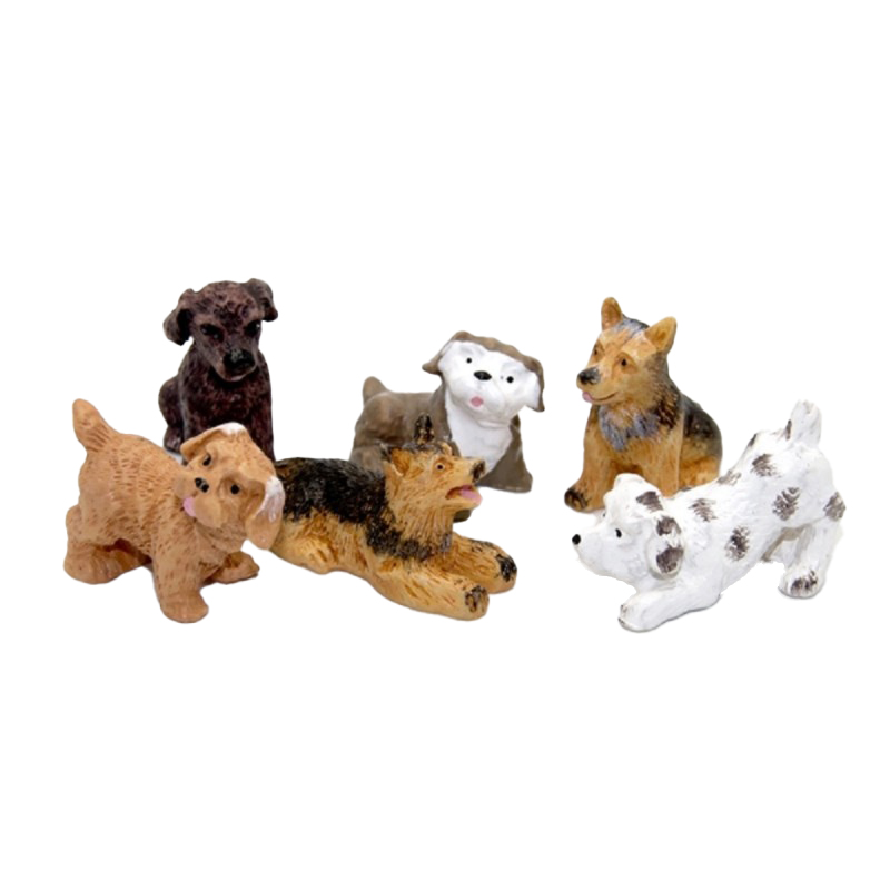 Dolls House Mixed Set of Puppy Dogs Miniature Pet 1:12 Scale Accessory