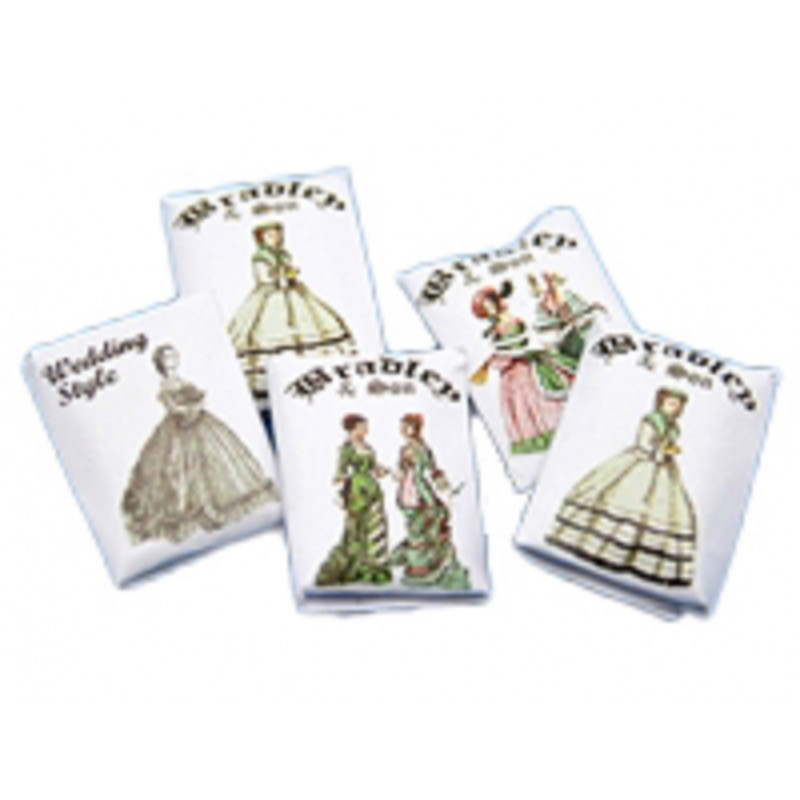 Dolls House 5 Victorian Dress Patterns 1:12 Sewing Room Dressmaking Accessory