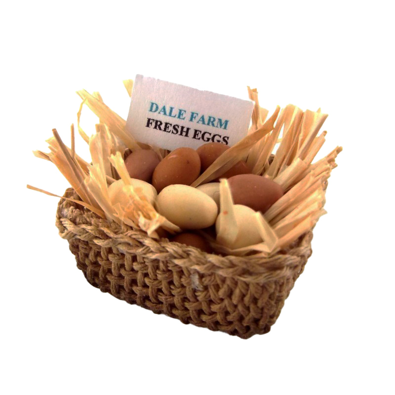 Dolls House Miniature Hand Made Accessory Free Range Eggs in Straw in Basket