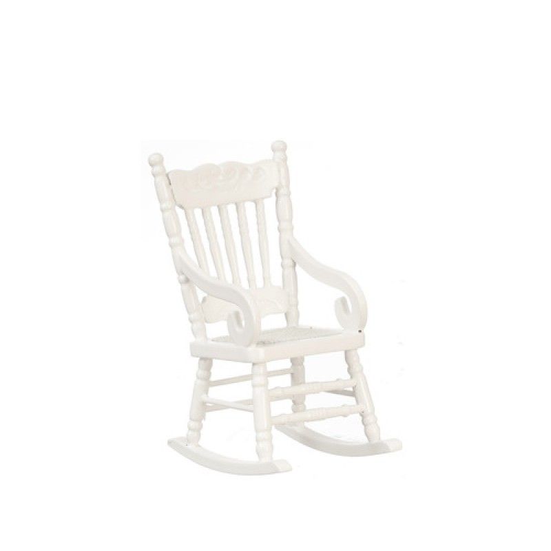 Dolls House White Rocking Chair with Woven Seat Miniature Rocker 1:12 Furniture