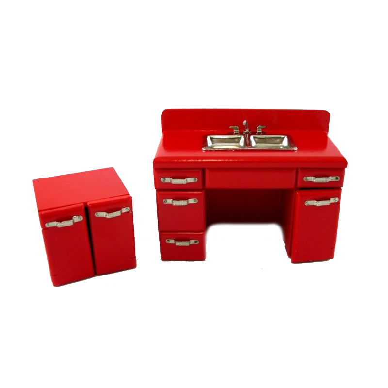 Dolls House Retro 1950's Red Double Sink Miniature 1:12 Kitchen Furniture