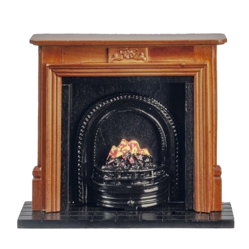Dolls House Walnut Fireplace with Fire in Black Grate Miniature Furniture 1:12
