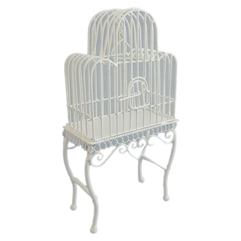 Dolls House Victorian White Wire Wrought Iron Bird Cage Miniature Pet Accessory