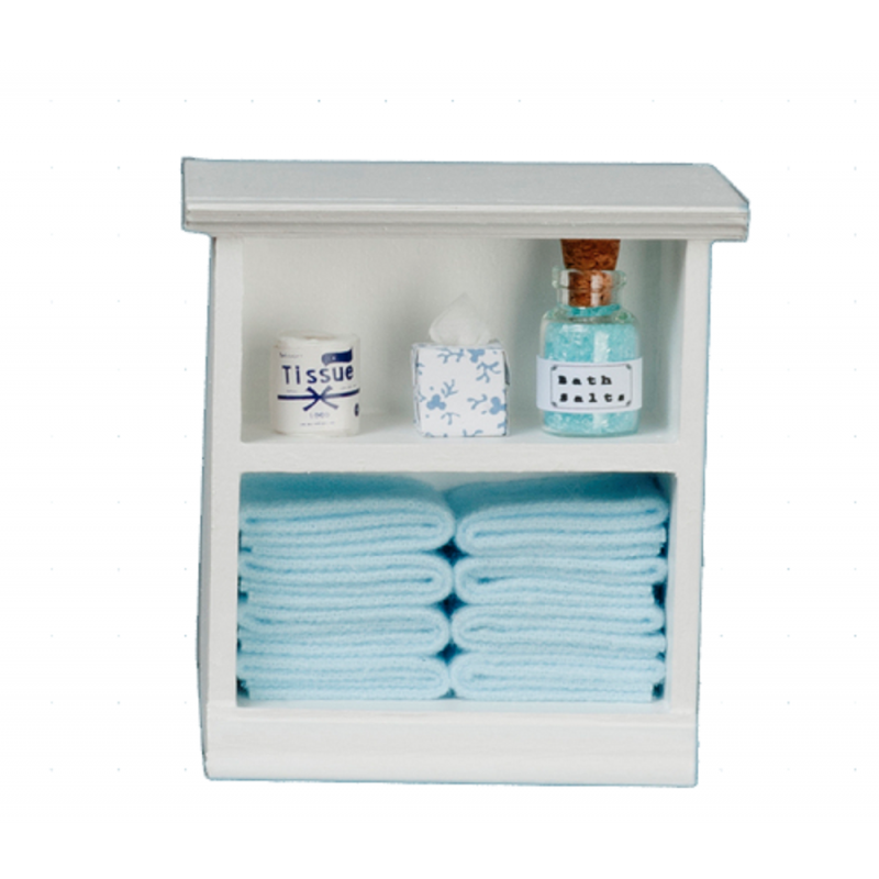 Dolls House Small Shelf Unit with Light Blue Accessories 1:12 Bathroom Furniture