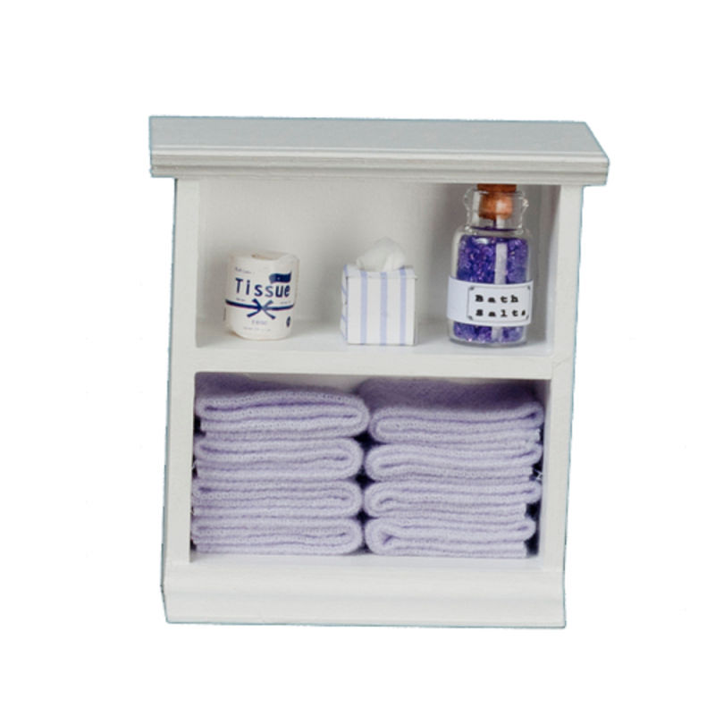 Dolls House Small Shelf Unit with Lilac Accessories Miniature Bathroom Furniture
