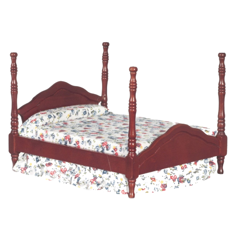 Dolls House Mahogany Cannonball Double Bed Miniature Bedroom Furniture