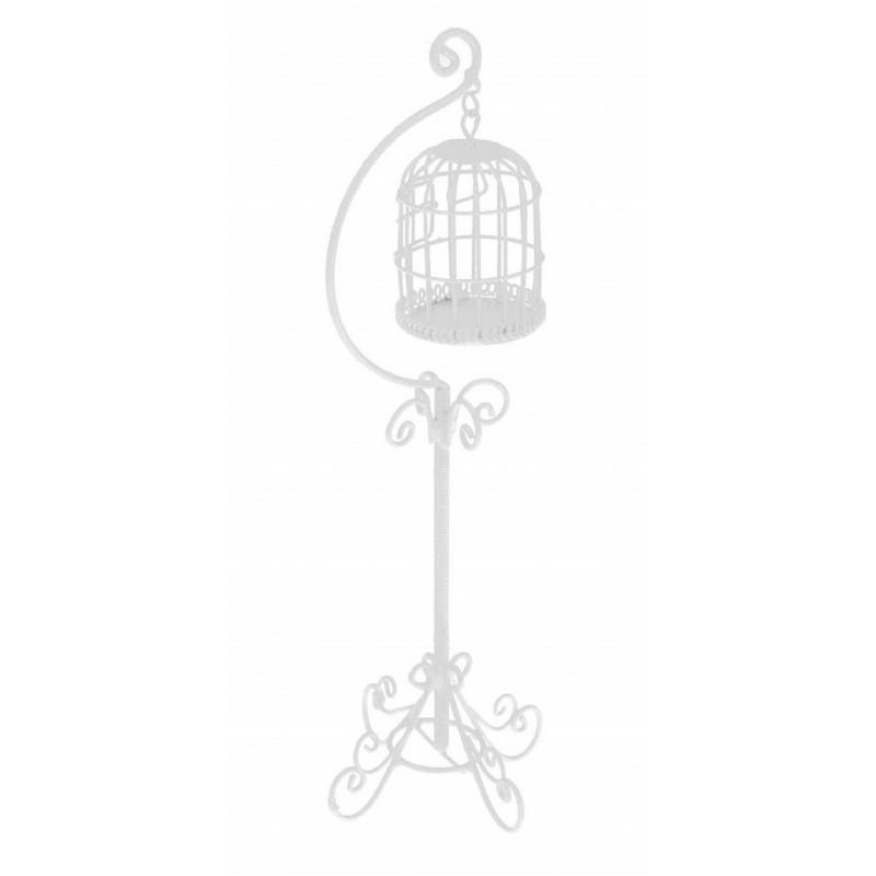 Dolls House White Wire Wrought Iron Hanging Bird Cage Birdcage Pet Accessory