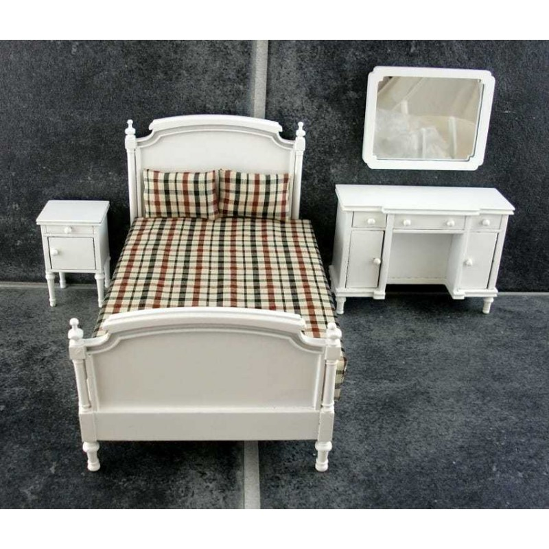 Dolls House Miniature White Wood Shabby Chic Double Bedroom Furniture Set