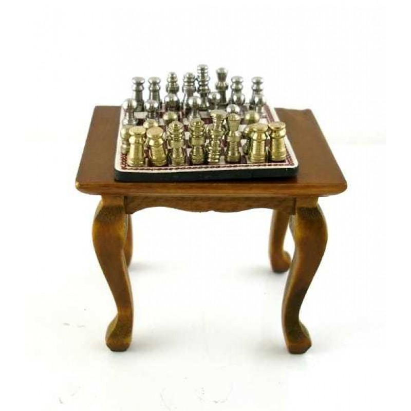 Dolls House Miniature Furniture Walnut Table with Accessory Magnetic Chess Set