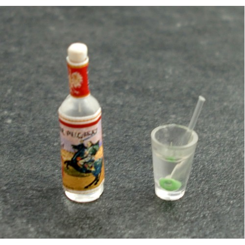 Empty Miniature Pair of Clear Plastic Pilsners DOLLHOUSE 1:12 Scale