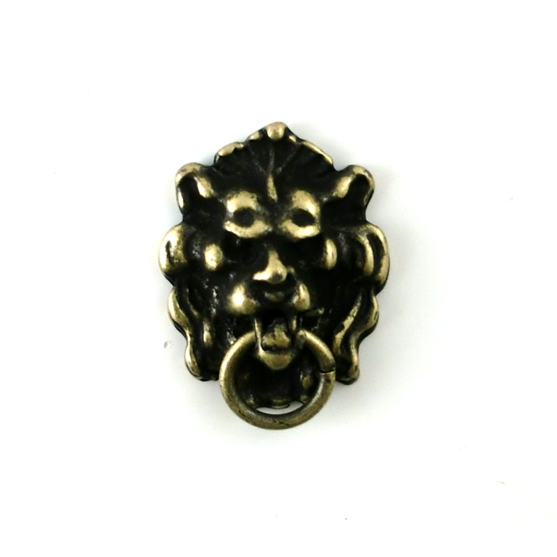 Dolls House Miniature Accessory Door Furniture Antique Gold Lions Head Knocker