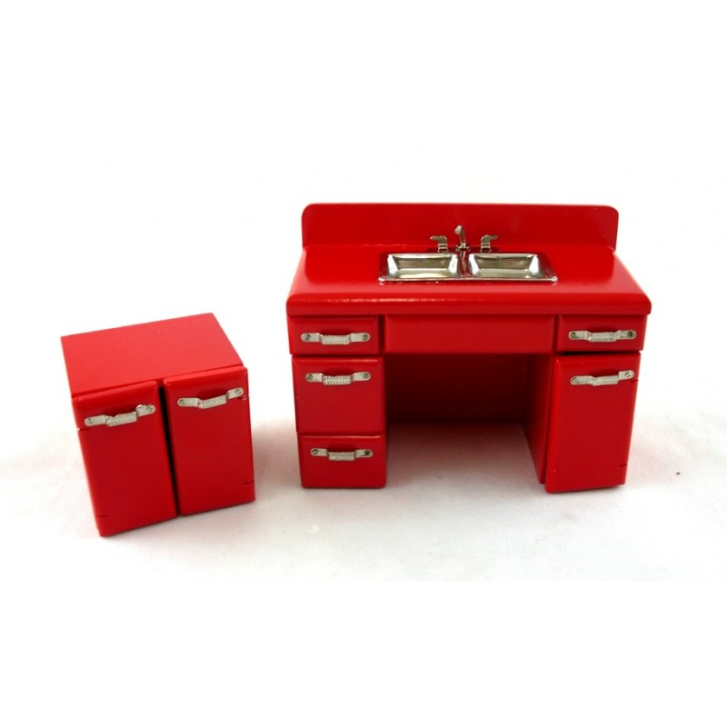 Dolls House Miniature Furniture 1950`s Kitchen Unit Double Sink Mixer Tap in Red