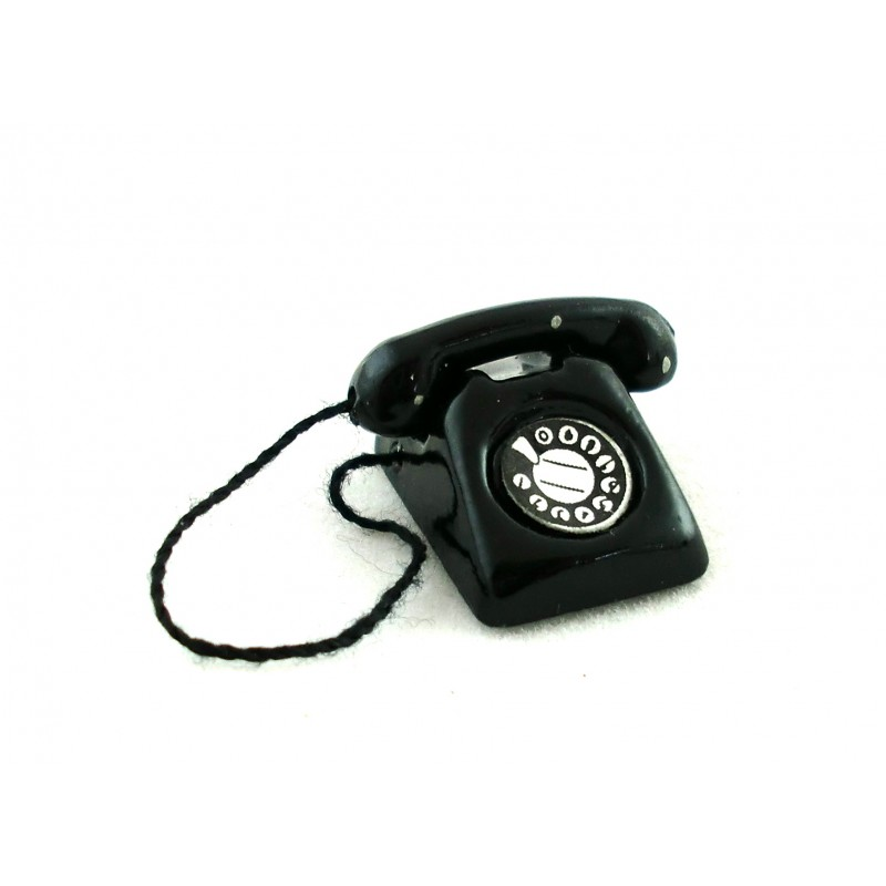 Dolls House Miniature Study Lounge Accessory Black Retro Phone Telephone 5371