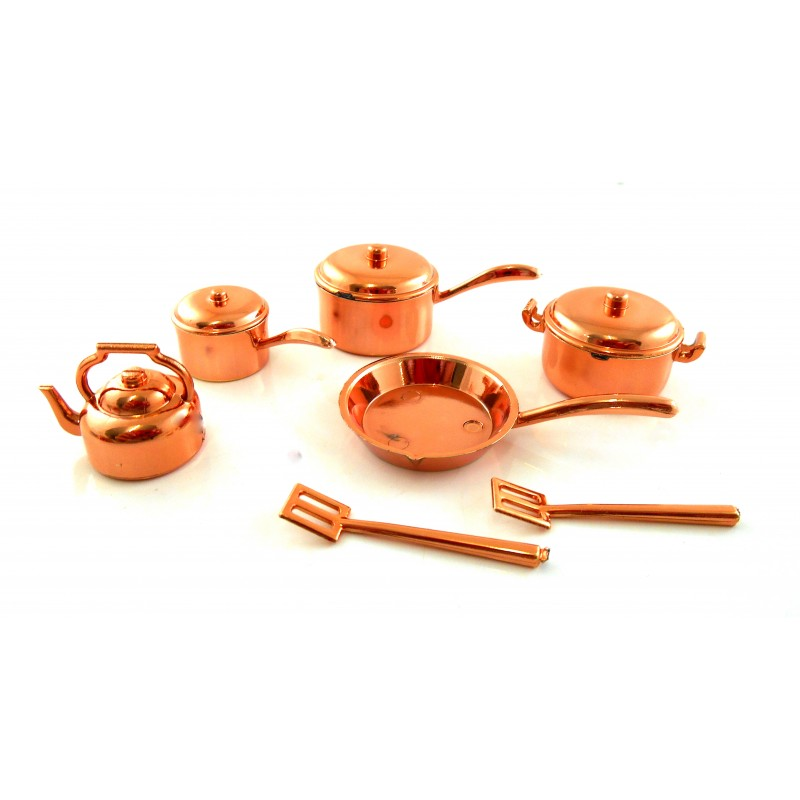 Dolls House Miniature Kitchen Accessory Plastic Copper 7 Piece Saucepan Pan Set