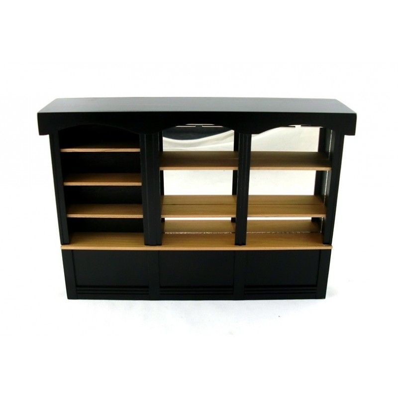 Dolls House Miniature Furniture Black Oak 1950`s Mirrored Shop Cabinet 3 Bay