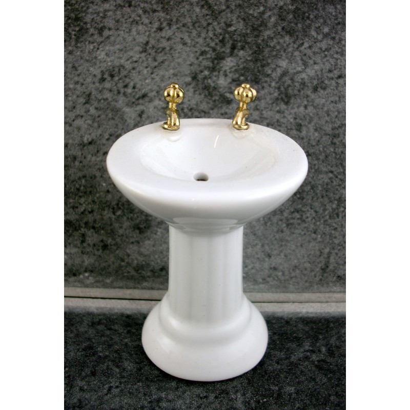 Dolls House Miniature Bathroom Furniture White Porcelain Sink Basin