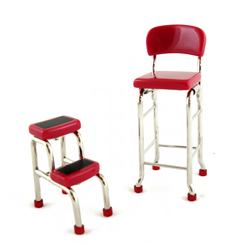 Dolls House Kitchen Furniture Red Chair and Step Stool 51