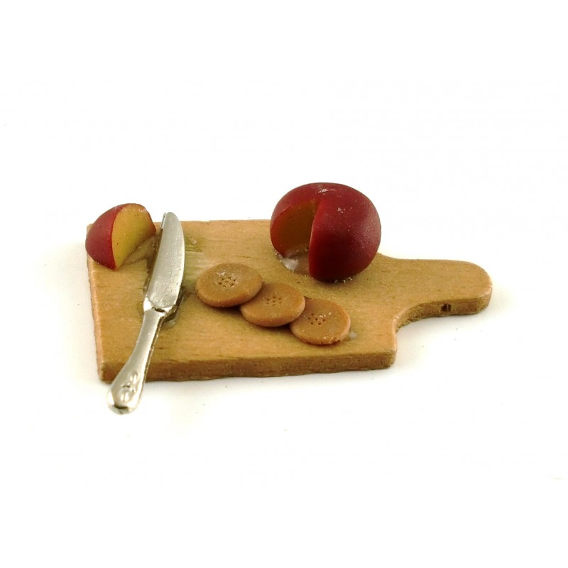 Dolls House Miniature Kitchen Dining Accessory Cheese Biscuits on Chopping Board