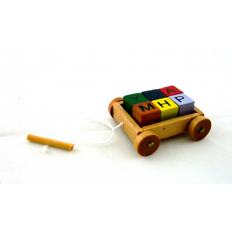Dolls House Miniature Nursery Toy Shop Accessory Pull Along Wagon and Blocks