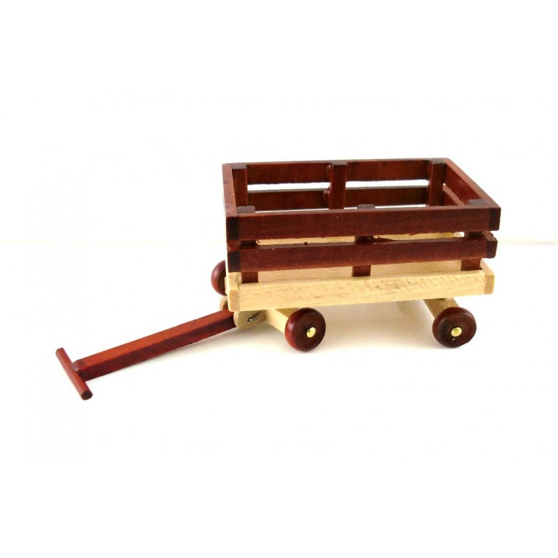 New Dolls House Toy Shop Nursery Accessory Pull Along Wooden Truck Cart Wagon