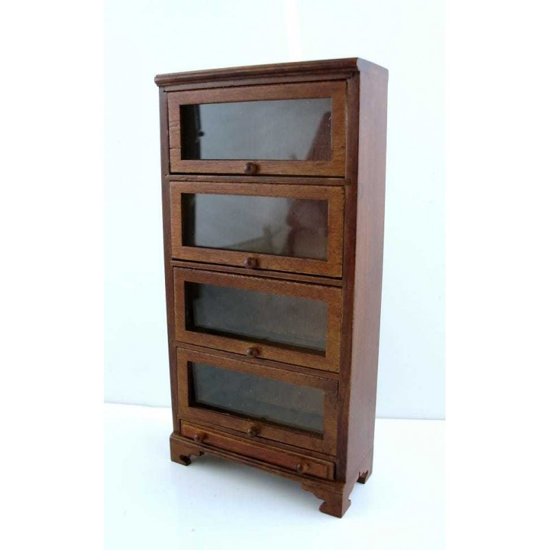Dolls House Miniature Study Furniture Barristers Bookcase 4 Glass Doors
