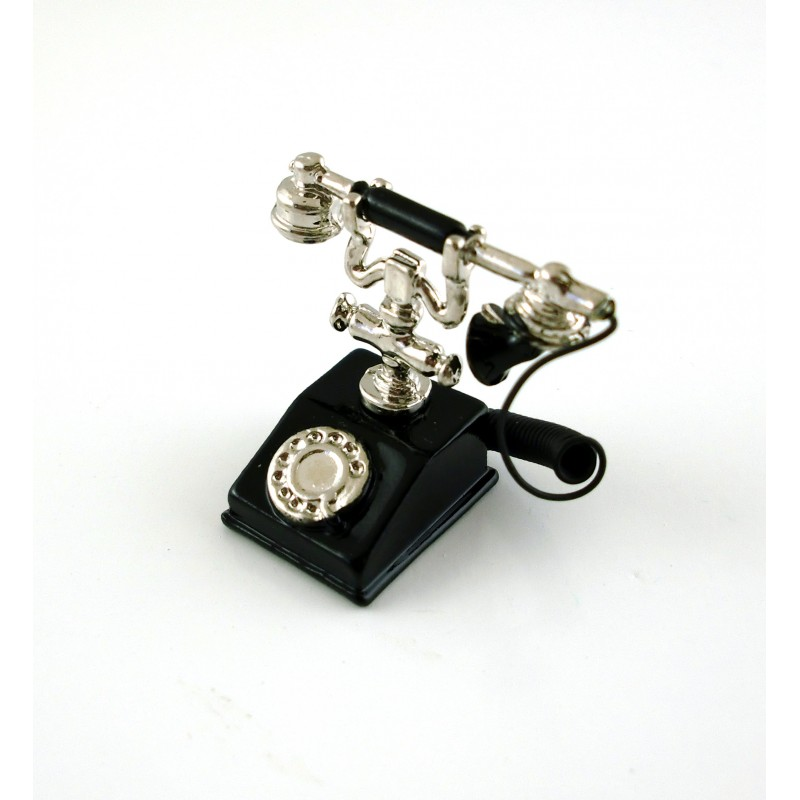 Dolls House Miniature Accessory Classic Black and Silver 1950 60's Fancy Telephone