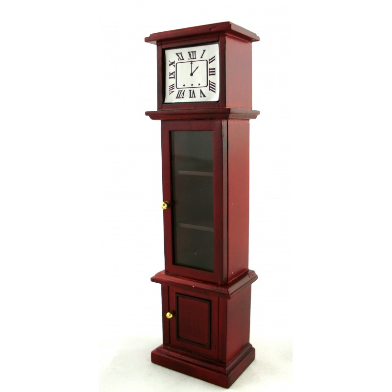 Dolls House Victorian Mahogany Grandfather Curio Clock Miniature Hall Furniture