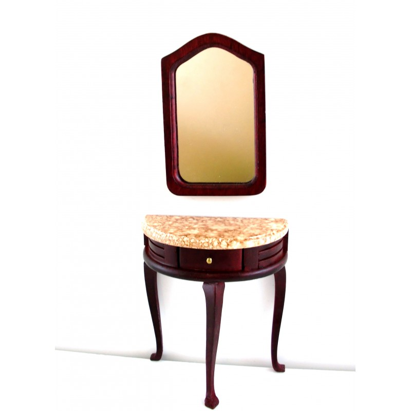 Melody Jane Dolls House Miniature Dining Room Mahogany Sideboard Cabinet Mirror
