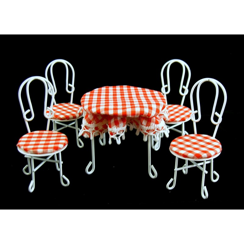 Dolls House Miniature Cafe Bistro Conservatory Garden Furniture Table & Chairs
