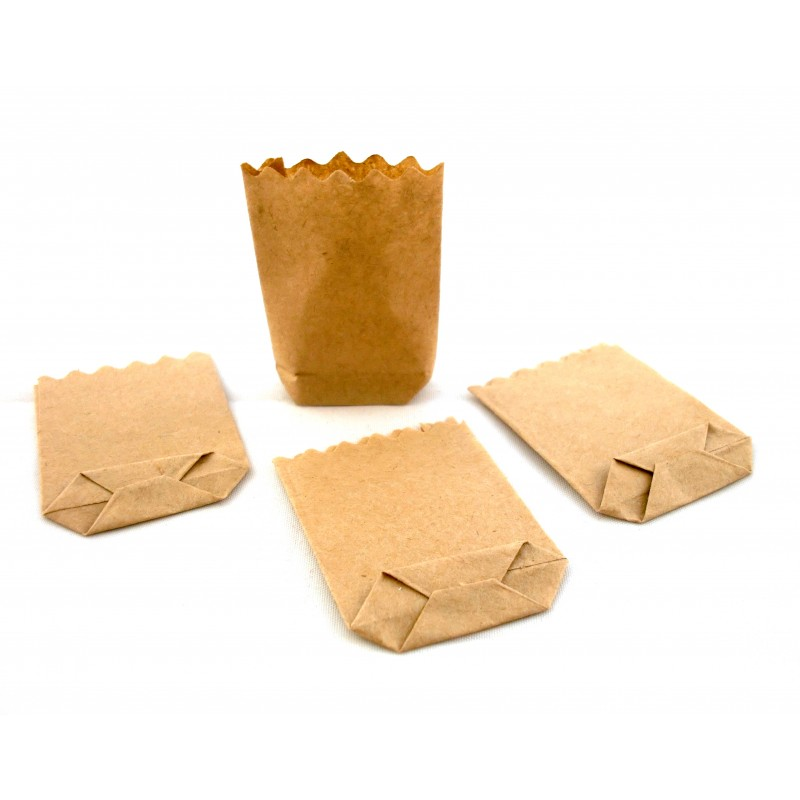 Dolls House Miniature Shop Store Accessory 1:12 Scale Brown Paper Grocery Bags