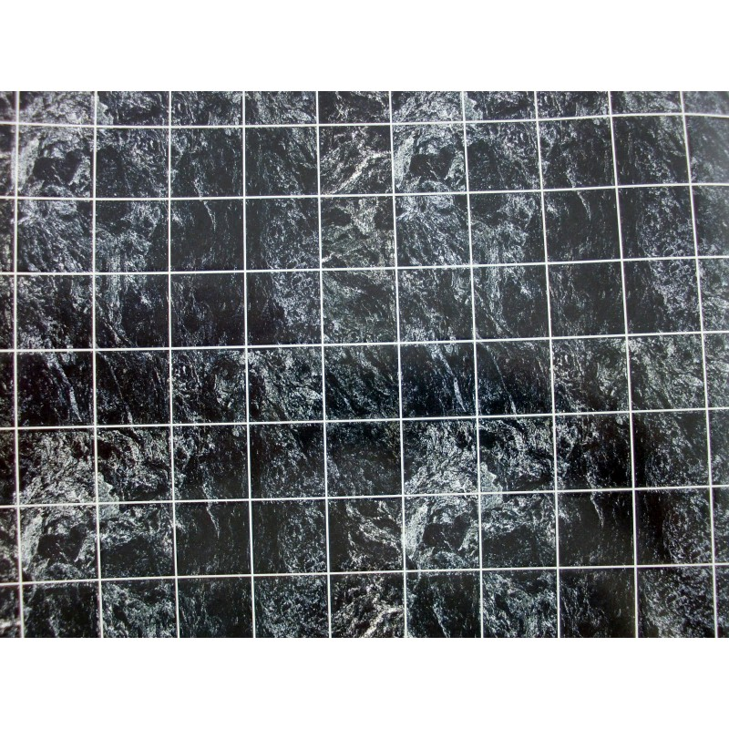 Dolls House Miniature Flooring Black Marble Tile Sheet