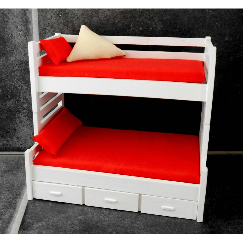 Dolls House White Bunk Beds Trundle Bed Miniature 1:12 Guest Bedroom Furniture