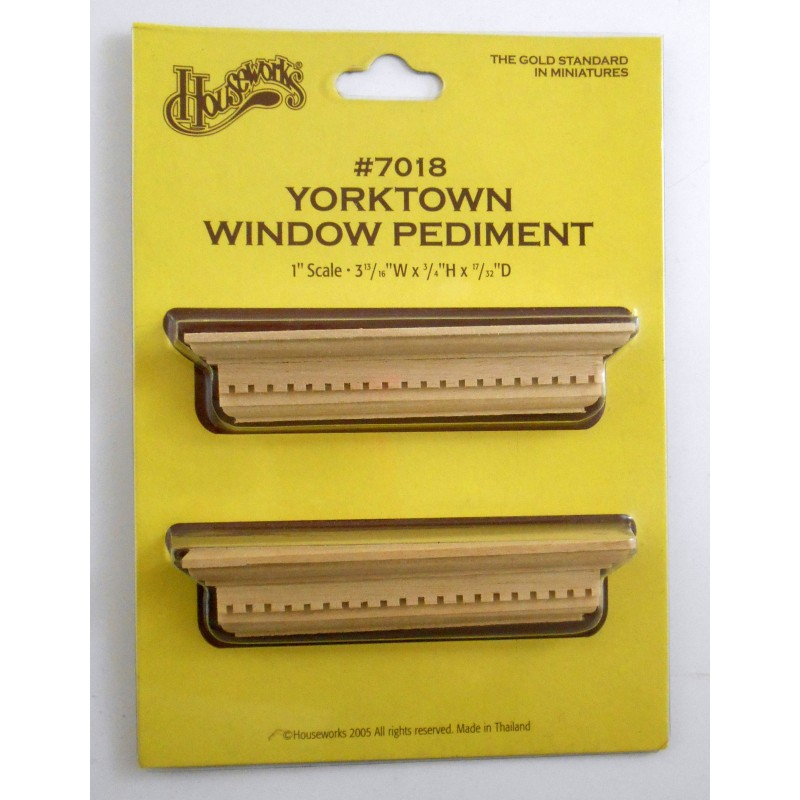 Dolls House Miniature 1:12 Scale 2 Natural Wood Yorktown Window Pediments